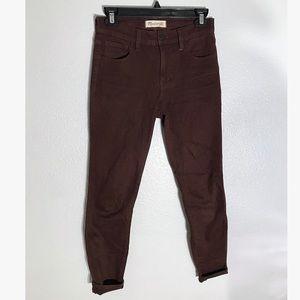 MADEWELL high-rise skinny jean maroon size 25